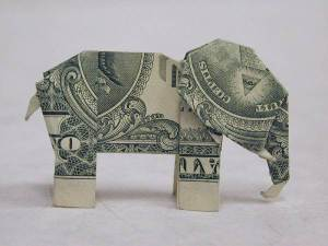 Origami_(made_from_an_American_1-dollar_bill)_of_an_elephant